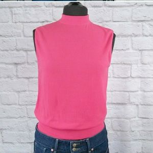 Vintage Tops - Vintage Choker Neck Hot Pink Sleeveless Top
